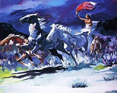 Painting - Stampede By Moonlight by Al Brown