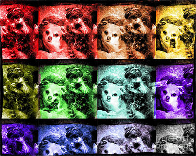 Digital Art - Stamped Dogs by Georgianne Giese