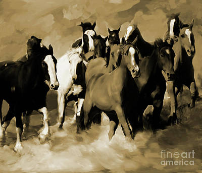 Wild Horse Painting - Stampede 03 by Gull G
