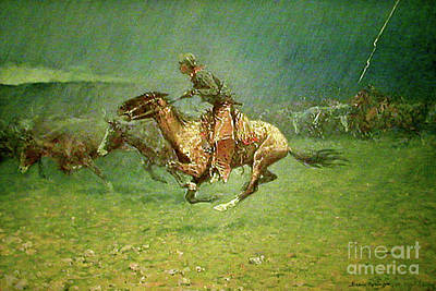 Oil Painting - Stampede By Lightning, Digitally Enhanced, Frederic Remington by digitally enhanced by Thomas Pollart