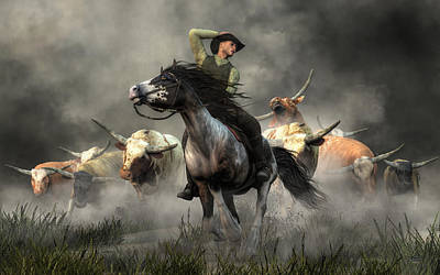 Digital Art - Stampede by Daniel Eskridge