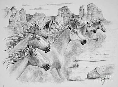 Running Horse Drawing - Stampede In Sedona by Joette Snyder