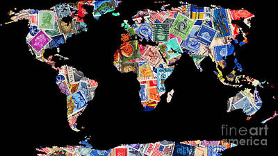 Postoffices Photograph - Stamps Of The World Map . V1 by Wingsdomain Art and Photography