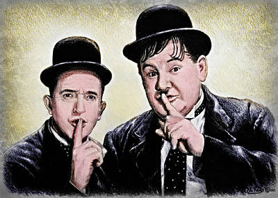 Painting - Stan And Ollie Colour Version by Andrew Read