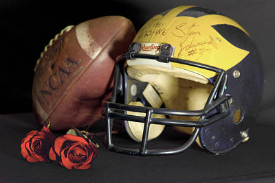 Photograph - Stan Edwards's Autographed Helmet With Roses by Michigan Helmet