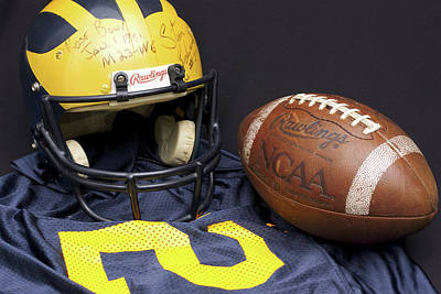 Photograph - Stan Edwards's Autographed Wolverine Helmet by Michigan Helmet