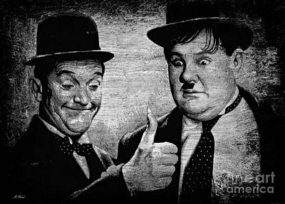 Comical Drawing - Stan Laurel And Oliver Hardy by Andrew Read