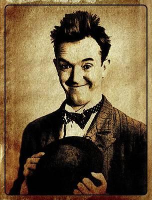 John Wayne Digital Art - Stan Laurel Vintage Hollywood Actor Comedian by Esoterica Art Agency