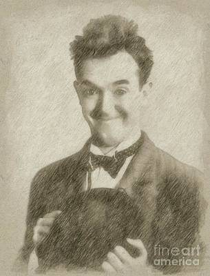 John Wayne Drawing - Stan Laurel Vintage Hollywood Actor Comedian by Frank Falcon