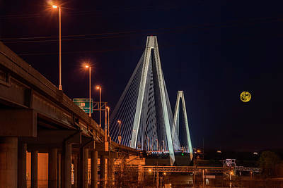 Photograph - Stan Musial Bridge Full Moon - Nov 14-2016-7k_dsc1155_16-11-14 by Greg Kluempers