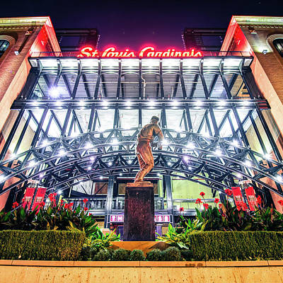 Photograph - Stan Musial Statue And Busch Stadium - Saint Louis Cardinals - 1x1 by Gregory Ballos