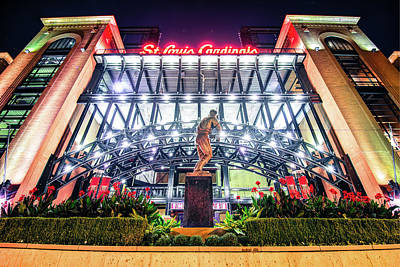 Photograph - Stan Musial Statue And Busch Stadium - Saint Louis Cardinals by Gregory Ballos