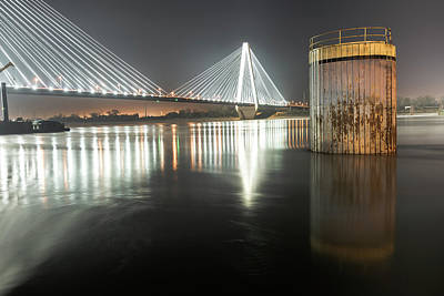 Stan Musial Photograph - Stan Musial Veterans Memorial Bridge At Night - St. Louis Missouri by Gregory Ballos