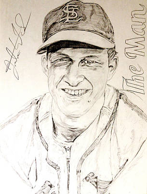 St. Louis Cardinals Drawing - Stan The Man by Justin Wade