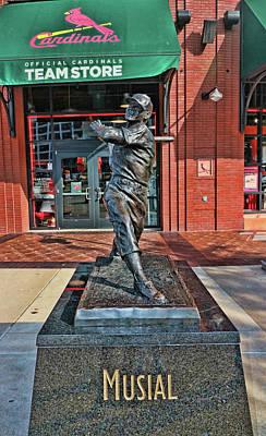 Photograph - Stan The Man Musial Statue # 2 - Busch Stadium by Allen Beatty