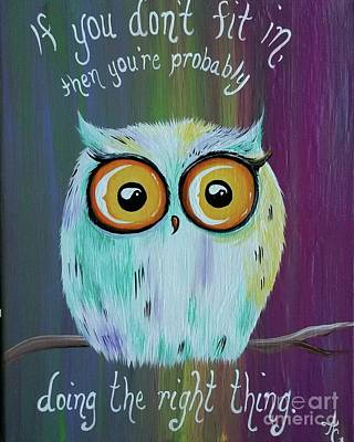 Owls Painting - Stand Out by Amanda Gervais