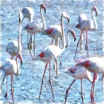 Painting - Stand Out In The Crowd Flamingo Watercolor by Tracey Harrington-Simpson