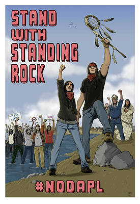 Native American Drawing - Stand With Standing Rock by Amy Umezu