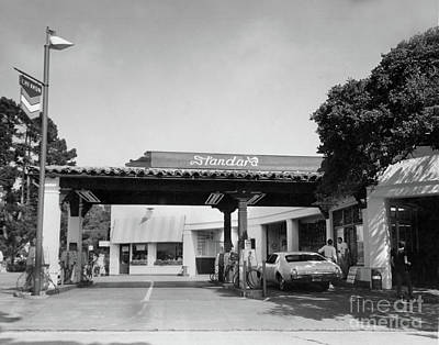 Photograph - Standard Gas Station On Ocean Ave. And San Carlos, Carmel, Calif Circa 1968 by California Views Mr Pat Hathaway Archives