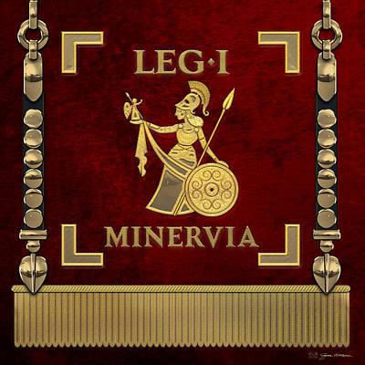 Digital Art - Standard Of The Minerva's First Legion - Vexilloid Of Legio I Minervia by Serge Averbukh