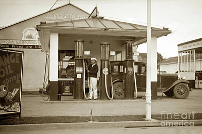 Photograph - Standard Oil Co Gas Station, Salinas 1circa 933 by California Views Mr Pat Hathaway Archives