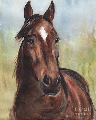 Horse Eye Painting - Standardbred Horse Head by Maria's Watercolor
