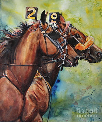 Horse Bridle Painting - Standardbred Trotter Pacer Painting by Maria's Watercolor