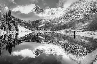 Photograph - Standing At The Aspen Colorado Maroon Bells In Black And White by Gregory Ballos