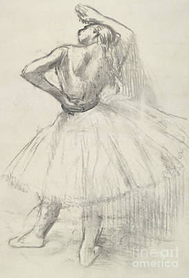 Standing Dancer, Right Arm Raised Art Print by Edgar Degas
