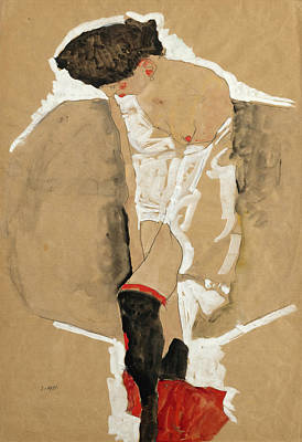 Drawing - Standing Female In Shirt With Black Stockings And Red Scarf by Egon Schiele