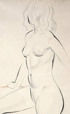 Crayons Drawing - Standing Female Nude by Eric Gill