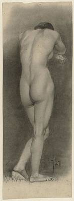 Drawing - Standing Female Nude Seen From The Rear Johan Braakensiek 1868  1940 by R Muirhead Art