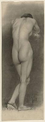 Drawing - Standing Female Nude Seen From The Rear Johan Braakensiek 1868  1940 by R Muirhead Art