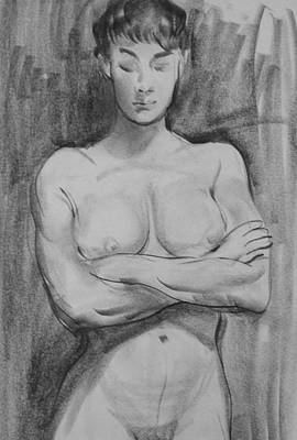 Drawing - Standing Female Nude With Arms Crossed by Robert Holden