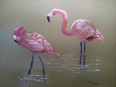 Pastel - Standing Flamingos by Joan Mansson