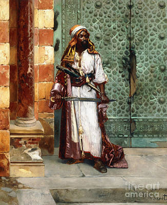 Black Men Painting - Standing Guard by Rudolphe Ernst
