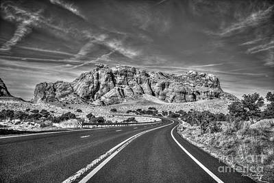 Photograph - Standing In The Road B W Grand Canyon Butte Page Arizona Art by Reid Callaway