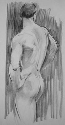 Drawing - Standing Male Nude, Back View,arms Akimbo, Back View by Robert Holden