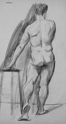 Drawing - Standing Male Nude, Back View, Arms Across Head by Robert Holden