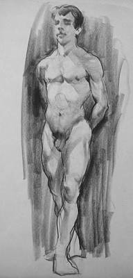 Drawing - Male Nude, Standing, Hands Behind Back by Robert Holden