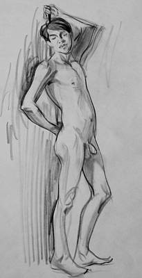 Drawing - Standing Male Nudeleaning Against Posing Pole by Robert Holden
