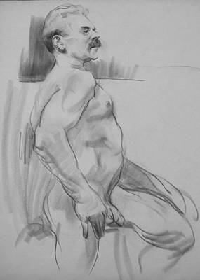 Drawing - Marty Resting On A Stool by Robert Holden