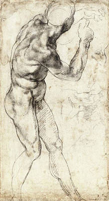 Michelangelo Drawing - Standing Male Nude, Turned Right by Michelangelo Buonarroti
