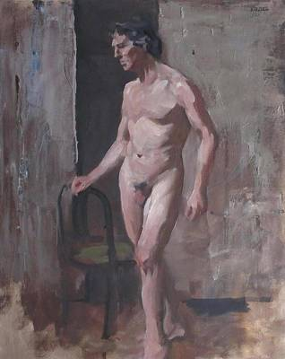 Painting - Standing Male Nude With Chair Support by Robert Holden