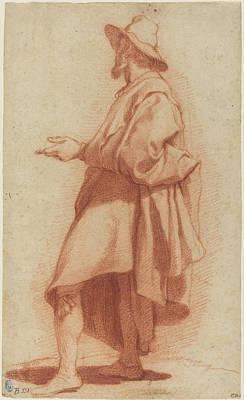 Sepia Chalk Digital Art - Standing Man Wearing A Cloak And Hat 1602 by Stephanie Brock