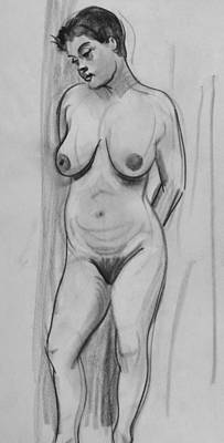 Drawing - Standing Model Looking Down by Robert Holden