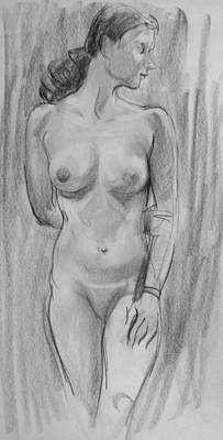 Drawing - Standing Model Looking To The Side by Robert Holden