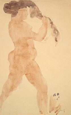 Painting - Standing Nude Arranging Her Hair by Auguste Rodin