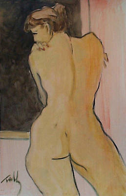 Painting - Standing Nude, Face In Profile by Thomas Tribby