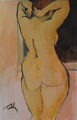 Painting - Standing Nude Fluffy Her Hair by Thomas Tribby
